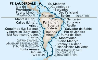 Holland America South America cruise map